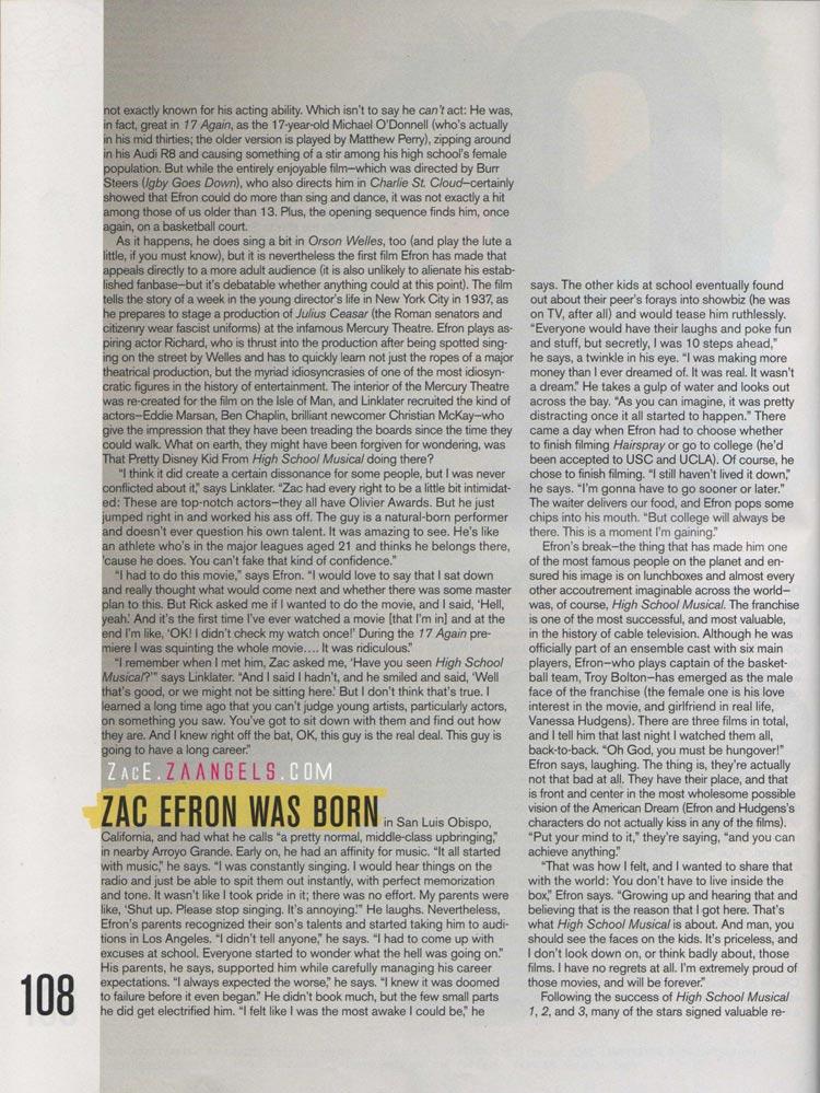 Zac Efron Nylon Guys 85